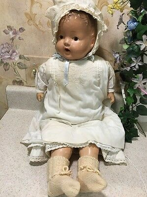 """Antique Composition Boy Baby Doll 23"""" Teeth Straw Filled"""