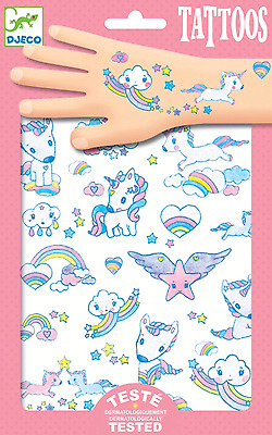 Unicorn Rainbow Cloud Temporary Glitter Tattoos 2 Sheets Party Girl Cute Gift