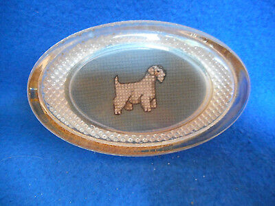 Sealyham Terrier  Estate collection Glass paperweight cross-stitched