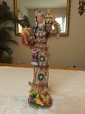Lenox Pencil Figurine Native Blessings Female Squaw Hand Painted Porcelain 12""