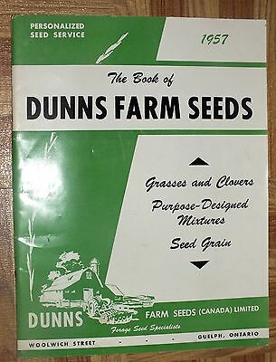 BOOK OF DUNNS 1957 Farm Seeds Grass Clover Mixtures Guelph Ontario Catalog Book