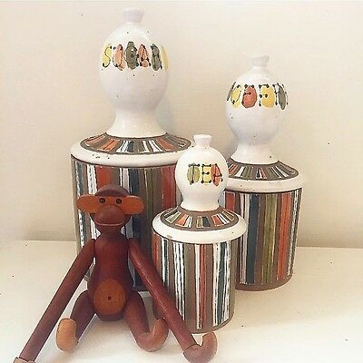 Six Piece Striped Raymor Italy Roger Capron Cannister Set - Mid Century Modern