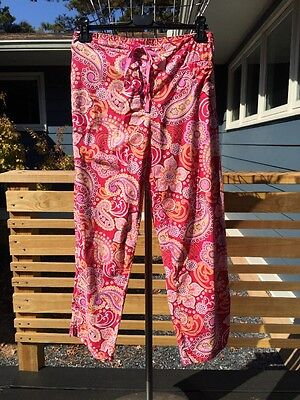 VERA BRADLEY Pink Roll-Up RASPBERRY FIZZ Lounge Pants SMALL pj pajama bottom