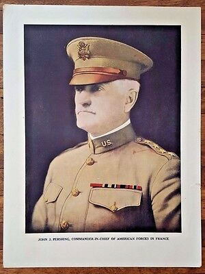 "Original Antique WWI PRINT- JOHN J. PERSHING Poster 9.5"" by 12.5"" World War One"