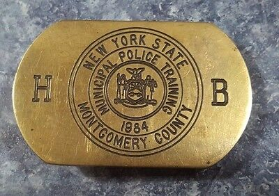 VTG 1984 Solid Brass Belt Buckle MUNICIPAL POLICE TRAINING Montgomery County NY