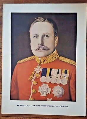 "Original Antique WWI PRINT- SIR DOUGLAS HAIG Poster 9.5"" by 12.5"""