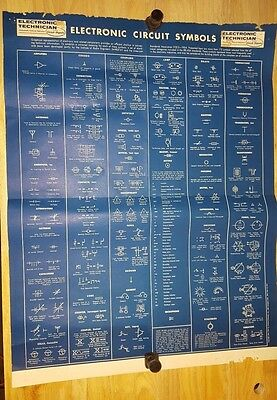 """Vintage 1954 ELECTRONIC CIRCUIT SYMBOLS Technician POSTER 16.5"""" by 21"""""""