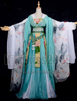 China Kimono Lotus Fairy Green Fantacy Full Dress Custom-Made Cosplay HanFu