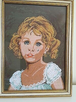 RETRO VINTAGE STYLE Needlepoint of YOUNG GIRL.