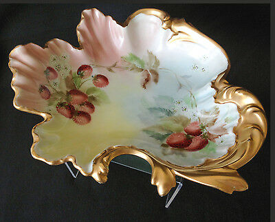Antique Hermann Ohme hand-painted conch bowl 1902