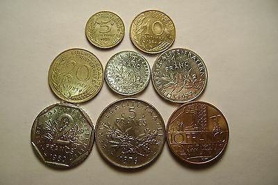 FOREIGN COIN SET: France: 5, 10, 20 centimes, 1/2, 1, 2, 5, & 10 Franc coins
