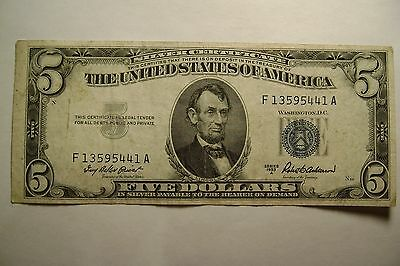 US $5 Silver Certificate Blue Seal note, 1953 A series, Very Fine condition