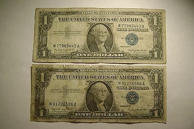 "Lot of 2 US Silver Certificate Blue Seal $1 notes, 1957 Series ""A"", circulated"
