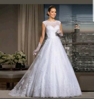 UK New White/ivory Lace A-line Wedding Dress Bridal Gown  Size 6-22