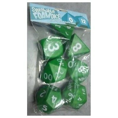 "Squishy Dice Set, Dark Green (2"" Set Of 7 Polyhedral Dice)  - BRAND NEW"
