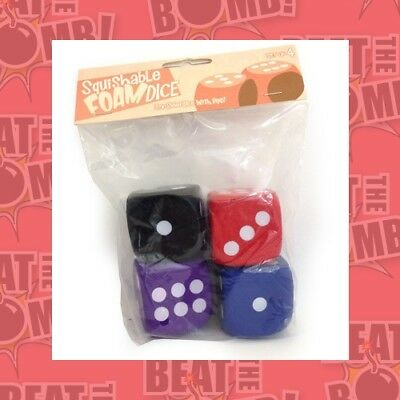 "Squishy Dice Set, 4d6 Pips (2"" Set Of 4 Six-sided Pipped Dice)  - BRAND NEW"