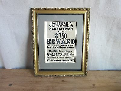 Vintage Framed Canvas California Cattlemen's Association Farmers Reward Poster