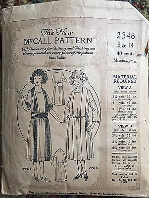 Vintage Very Rare 1920 Mccall Pattern Size 14 Misses Dress Skirt Style #2348