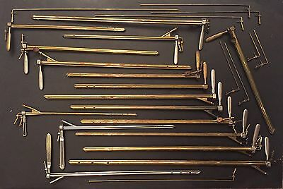 Antique Medical Instrument Lot Of 16 Pilling Phila Bronchoscopes Surgical Tools