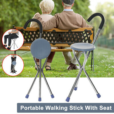 Portable Folding Travel Cane Walking Stick Seat Camp Stool Chair For The Old