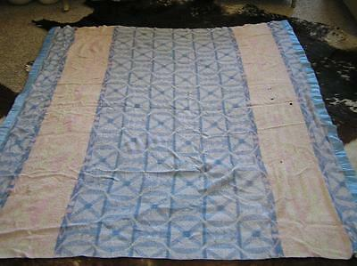 "BEACON SOUTHWEST Blue & Pink Trading COTTON CAMP BLANKET REVERSIBLE 68""x64"""