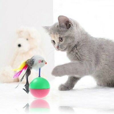 Newest Play Activity Mouse with Feather Tumbler Ball Plastic Pet Dog Cat Toy