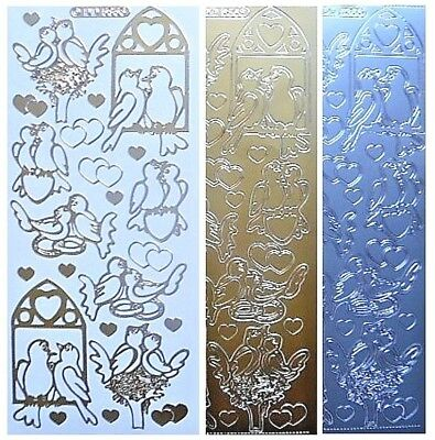 LOVE BIRDS Peel Off Stickers Hearts Doves Card Making Outline Gold or Silver