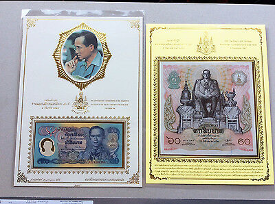 Thailand 50 And 60 Baht Commemorative Banknotes Unc With Sheet