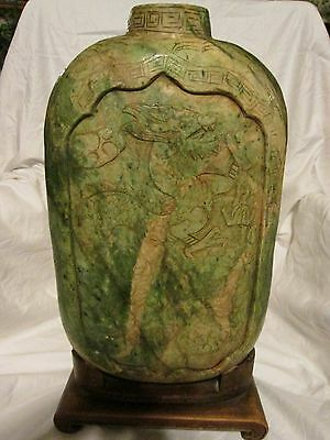 Chinese Unique Jade Vase Carved Dragon And Phoenix Bird Weighs 45Lbs