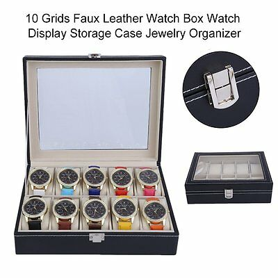 10Grids Watch Display Case Jewelry Collection Storage  Organizer Leather Box DE