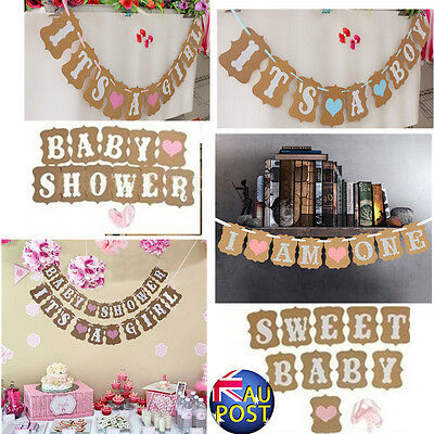 Personalised Rustic Baby Shower Bunting Banner Garland Party Decoration BOY GIRL