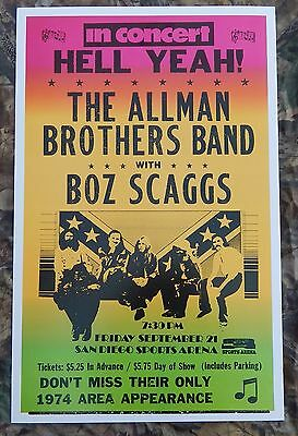 Vintage Allman Brothers w/ Boz Scaggs Concert Poster 9/21/1974 San Diego Arena