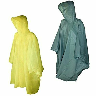 Totes 2 Pack Waterproof Rain Ponchos (Yellow & Green, One Size)