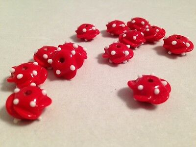 17 Red and White Bumpy Glass Lampwork Beads