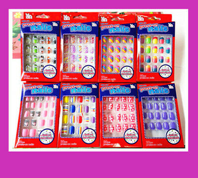 20/24 New Kids Designer Acrylic Fake Nails Set With Press On Glue Gift Party
