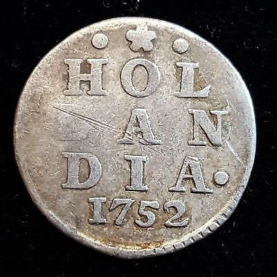 1752 Hollandia Netherlands Province 2 Stuivers Dutch Holland Silver B17