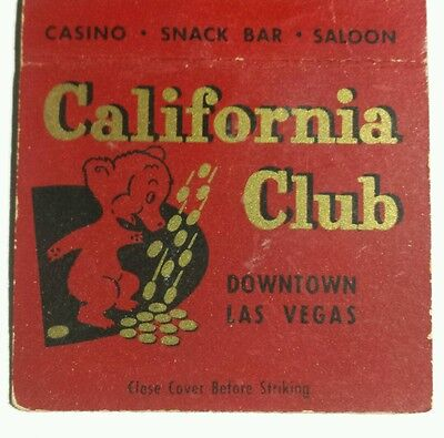 CALIFORNIA CLUB Bobtail Matchcover First & Fremont Downtown Vegas