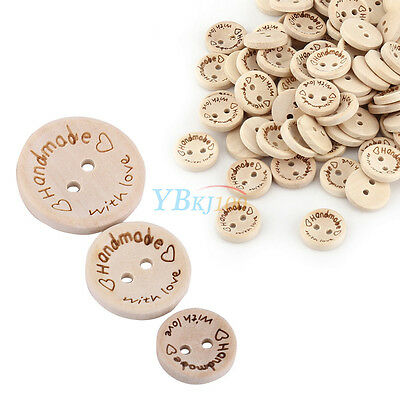 """100pcs 2 Holes Wood Buttons Sewing Scrapbooking DIY Craft """"handmade""""""""with love"""""""
