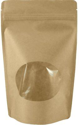50 Natural Kraft Stand up Pouches with Oval Window and Zip Lock Food Storage Bag