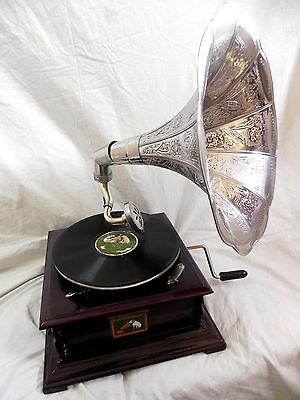 Antique Gramophone Phonograph Steel Crafted Horn Sound Box Needle Set