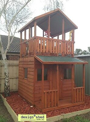 CUBBY HOUSE Kids HIS & HERS FORT by Design A Shed MADE IN MELB Solid Timber NEW