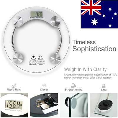 Digital Bathroom Scale Body Weight 400lb Glass LCD Personal Health Fat Fitness