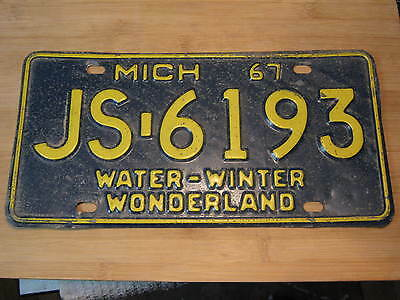 1967 Michigan License Plate Expired Js 6193