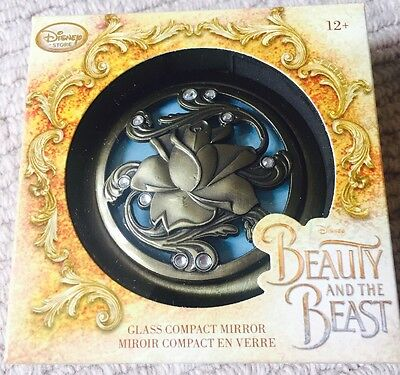 Disney Store Beauty & The Beast Glass Compact Rose Mirror Live Action 2017 Belle