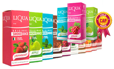 LIQUA eJuice eLiquid Smoke Juice 10ml 0mg 6mg Multi-flavours Premium Quality