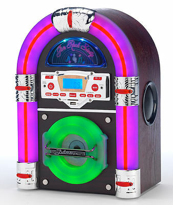 Steepletone Jive Rock Sixty Mini Jukebox CD MP3 Bluetooth Radio Remote Dark Wood