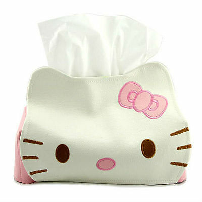 Cute Hello Kitty Leather Tissue Paper Tissue Box Case Cover Holder for Car Desk