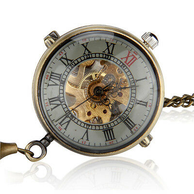 Unisex Retro Crystal Ball Mechanical Necklace Pendant Pocket Watch S3C9