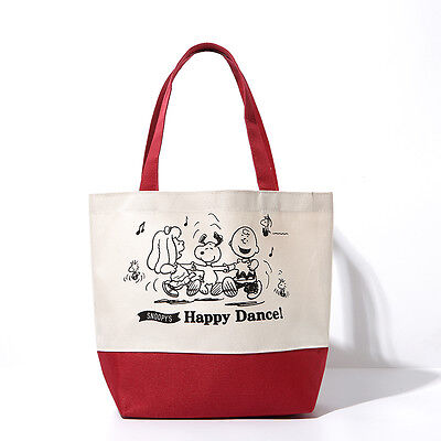 Snoopy Peanuts Shoulder Bag Lunch Eco Shopping Grocery Canvas Happy Dance