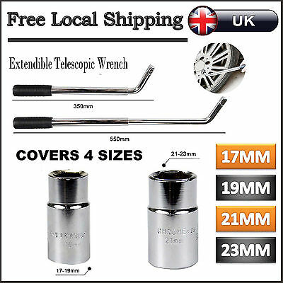 HEAVY DUTY Car VAN Telescopic 17&19mm 21&23mm Wheel Brace Socket Nut Tyre Wrench